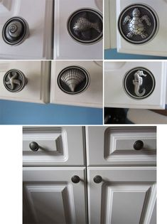 Pewter ocean-themed cabinet knobs from Cool Knobs and Pulls