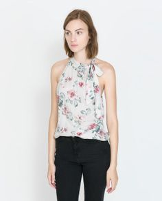 Image 2 of FLORAL TOP WITH BOW from Zara