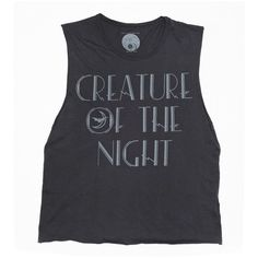 Creature Of The Night Women's Muscle Tee ❤ liked on Polyvore featuring tops, shirts, tank tops, tanks, black shirt, black singlet, muscle t shirts, vintage shirts and muscle tshirt