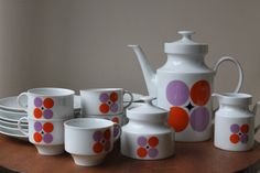 Modern, simple design, full tea set by Bavaria, Germany.  The age is only an estimate. I have not been able to identify the name, designer, and