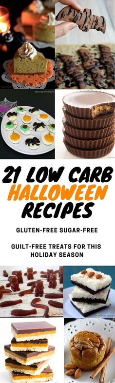 My PCOS Kitchen - 21 Low Carb Halloween Recipes - A handy list of low carb Halloween recipes to make for this holiday season! These recipes can be made throughout the year and are all gluten and sugar-free! #keto #lowcarb #lchf #halloween #glutenfree #sugarfree #ketogenic #paleo Halloween Snacks, Muffins Halloween, Spooky Halloween, Spooky Food, Sugar Free Desserts, Low Carb Desserts, Low Carb Recipes, High Protein Recipes, Healthy Desserts