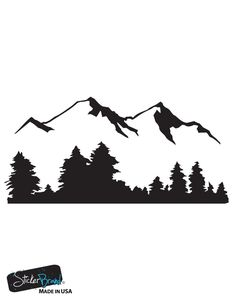 Vinyl Wall Decal Sticker Snow Mountain View w Trees Stickerbrand wall ar Forest Landscape, Landscape Art, Mountain Landscape Drawing, Diy Wall Art, Framed Wall Art, Wall Decor, Tree Wall Art, Wall Mirrors, Wall Decal Sticker