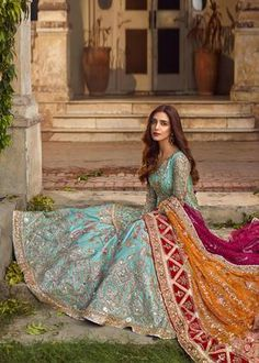 Bridal wear Lehenga Customized with a 7 days Pakistani Formal Dresses, Pakistani Bridal Dresses, Wedding Dresses For Girls, Pakistani Dress Design, Pakistani Outfits, Indian Dresses, Indian Outfits, Pakistani Engagement Dresses, Pakistani Mehndi