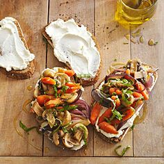 Skillet Vegetables on Cheese Toast Not your typical grilled cheese sandwich. In less than 30 minutes, you can prepare this meatless skillet main dish recipe that layers cooked carrots and mushrooms over toasted bread spread with goat cheese.