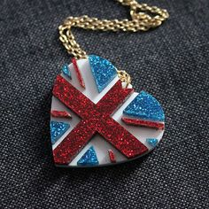 Union Jack heart necklace  laser cut by sugarandvicedesigns, £14.00