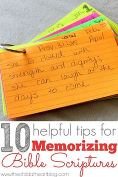 10 helpful tips for Memorizing Bible Scriptures or Memory Verses #faith