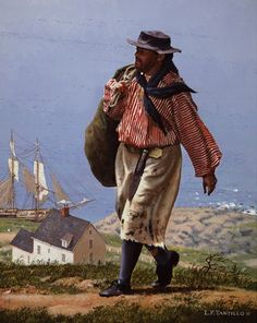A Sailor's Return -   A colonial sailor returns to his homeport after a long sea voyage, circa 1760.