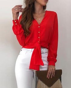 Shop Button Knotted Waist Casual Blouse right now, get great deals at pickmyboutique. Cocktail Bridesmaid Dresses, Casual Party Dresses, Trend Fashion, Fashion Spring, Women's Fashion, Moda Chic, Blouse Online, Blouse Styles, Simple Outfits