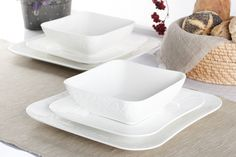 Serwis obiadowy DUO GAMMA na 6 osób (18 el.) - 226 PLN Flat Design, Butter Dish, Dishes, Furniture, Home, Tablewares, Ad Home, Home Furnishings, Homes