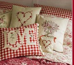 Love and heart pillows