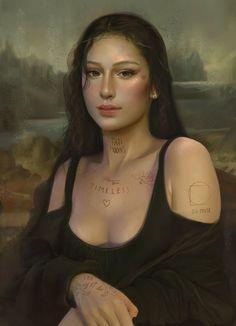 Spanish Artists, Dutch Artists, Famous Artists, Digital Portrait, Digital Art, Monalisa Wallpaper, Mona Lisa Drawing, Tiny Heart Tattoos, Mona Lisa Parody