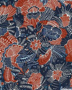 Bali Garden - Indonesian Botanic Splash - Navy Blue
