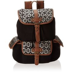 Wild Pair Crochet Flap Cargo With Faux Leather Trim Backpack Handbag ($41) ❤ liked on Polyvore featuring bags, backpacks, rucksack bag, wild pair, flap bag, crochet backpack and cargo backpack