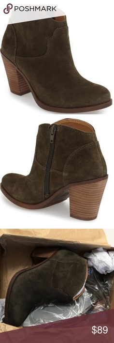 SALE! Lucky Brand ELLER booties Lucky Brand ELLER booties. Size 8.5. Brand new in box. Color is Dark Moss (mossy green) in an oiled suede finish. 3 inch stacked heel, inside zipper for easy on and off. Western inspired with a sleek finish. Super cute with cuffed jeans! Lucky Brand Shoes Ankle Boots & Booties