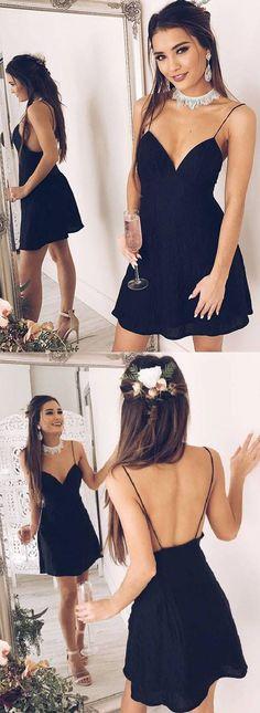 A-line Spaghetti Straps Short/Mini Sleeveless Chiffon Homecoming Dress,Short Prom Dress,sexy prom dresses,black homecoming dress,black sexy prom dresses,black prom dresses cheap