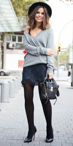 Slip Dress and Sweater Outfits are classy, stylish and simple to wear. I love this gray sweater, hat and tights combined with a tartan satin slip! Gorgeous and classy, right?