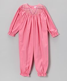 Take a look at this Pink Smocked Playsuit - Infant by Petit Pomme on #zulily today!