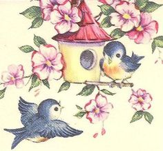 two blue birds near home Donate Now, Vintage Birds, Bird Art, Blue Bird, Rooster, Art Drawings, Photo And Video, Retro, Creative