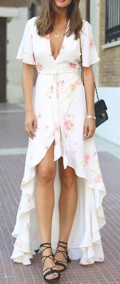 Floral hi-low dress.
