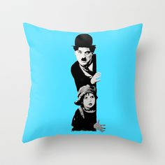 Chaplin and the kid - turquoise Throw Pillow by ARTito  - $20.00
