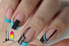 Square Nail Designs, Black Nail Designs, Beautiful Nail Designs, Acrylic Nail Designs, Classy Nails, Fancy Nails, Simple Nails, Butterfly Nail Art, Nail Art Designs Videos