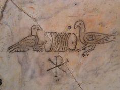 from Santa Maria church in Trastevere, Rome Early Christian, Christian Art, Santa Maria Church, Classical Antiquity, Compass Tattoo, Graffiti, Symbols, Antiquities, Romans