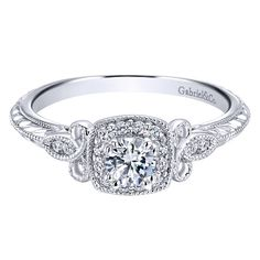 Gabriel 14K White Gold Pre-Set Diamond Halo Scrollwork Engagement Ring with Engraved Details Featuring 0.37 Carats of Round Cut Diamonds. Style ER912141R1W44JJ