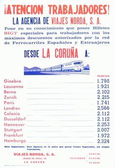 A Coruña : Viajes Norda, 1968 Travel, Travel Agency, Viajes, Destinations, Traveling, Trips