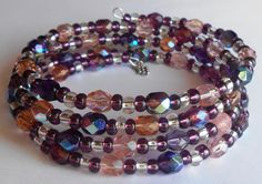 Sparkling Plum Purple and Pink Faceted AB Glass Beads on Four Loops of Silver Memory Wire by VineDesignBeads