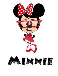 Minnie Nerd Your Name Personalized DIY Printable Iron Transfer Disney Mouse Classic Geek Nerd School Disney Education Sisters