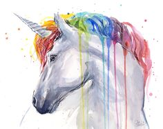 Rainbow Unicorn Watercolor by Olechka01