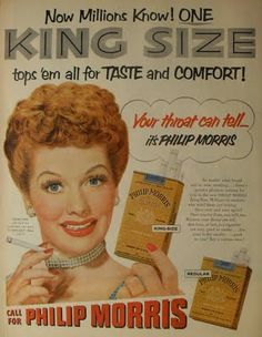 Philip Morris vintage cigarette ad - with Lucille Ball Pin Up Vintage, Pub Vintage, Vintage Signs, Old Advertisements, Retro Advertising, Retro Ads, 1950s Ads, School Advertising, Phillips Morris