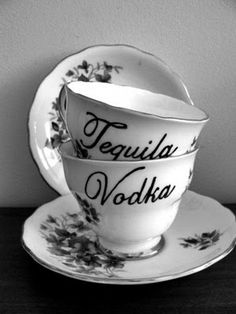 So funny and so me - I'd love these to serve cocktails in these dainty, lady-like tea cups