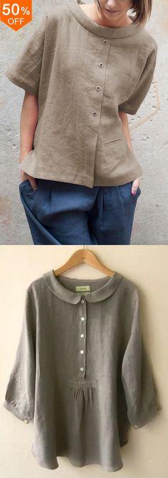 Vintage Round Neck Short Sleeve Button Cotton Blouse Best Picture For blouse vintage blazers For You Sewing Blouses, Cotton Blouses, Diy Clothes, Clothes For Women, Mode Plus, Blouse Vintage, Blouse Dress, Linen Dresses, Blouse Designs