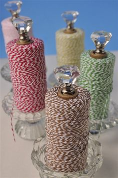 DIY Craft Room Ideas and Craft Room Organization Projects - Candleholder Twine Storage - Cool Ideas for Do It Yourself Craft Storage - fabric, paper, pens, creative tools, crafts supplies and sewing notions Craft Room Storage, Craft Organization, Storage Ideas, Craft Rooms, Organizing Tips, Craft Storage Solutions, Closet Organization, Kitchen Storage, Space Crafts