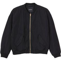 Monki Farah jacket (€51) ❤ liked on Polyvore featuring outerwear, jackets, tops, coats, black magic, flight jacket, bomber jacket, monki, bomber style jacket and blouson jacket