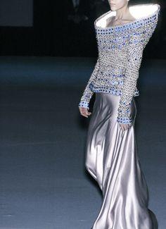 Space Age Elegance - embellished dress with 3D contours & fluid skirt design; sculptural fashion // Alexander McQueen