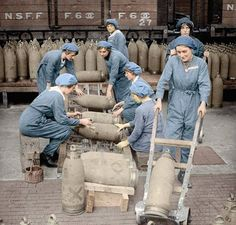 World War 1 women: The Canaries were women munitions workers who worked with live shells destined for the trenches. Often working with the chemicals turned their skin yellow. Some canaries were discriminated against, some were even banned from entering shops and cafés. After this photo was taken on 1 July, 1918, 250 workers were killed when eight tons of TNT explosive at the factory blew up – we will remember them