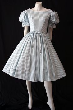 blue and white striped dress by lottie Vintage Dresses, Vintage Outfits, Vintage Fashion, 1950s Dresses, 1950s Fashion, Blue And White Dress, Striped Dress, Vintage Clothing Online, Feminine Style