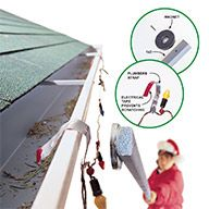 Hang lights from a metal band and place them on gutters with a magnet - Here's a collection of clever hints and tips that will make your holiday decorating faster, easier and more fun!