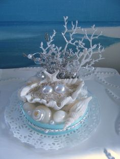 Pearl Seashell Wedding Cake Topper~designed by CeShoreTreasures