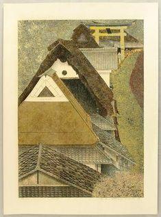 Katsuda Yukio: No 128 - Village Houses and Torii Gate - Japanese Art Open Database