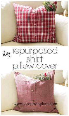 DIY Repurposed Shirt Pillow Cover & Love this Pillowcase tutorial. I\u0027ve made quite a few so far ... pillowsntoast.com