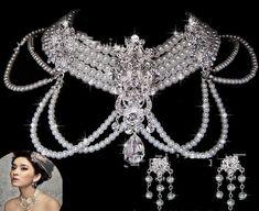 Bridal Jewelry Sets Vintage silver crystal rhinestone pearl Wedding choker necklace earring jewelry Accessories Wedding Jewelry Sets Item specifics Item Type: J
