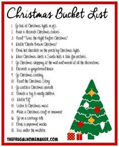 Christmas Bucket List 2014