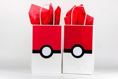 Pokemon Party Bags - Pokemon Pokeball Party Bags - Pokemon Birthday - Pokemon Party Decoration - Pokemon Gift Bags - Pokemon Bags Set Of 12 by ThePaperCutDesigns on Etsy https://www.etsy.com/listing/463953084/pokemon-party-bags-pokemon-pokeball