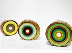 Focus Line Art. I love these. The juxtaposition of modern colors with rustic wood...fabulous!