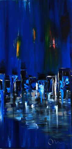 """""""Night Life""""..acrylic on stretched canvas..60"""" x 30"""" x 3""""...©Mac Worthington, artist, 2014 For further information on this piece or to discuss a custom design please call 614 