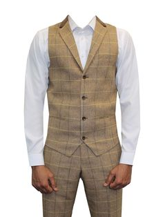 "Mens Marc Darcy Designer Oak Tweed Herringbone Checkered Vintage 3 Piece Suit (36"" JKT 30"" WAIST 31"" LEG, Oak)"