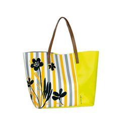 Bolsa de Playa Caminatta PL15072 con dos asas y cremallera. Motivo floral.